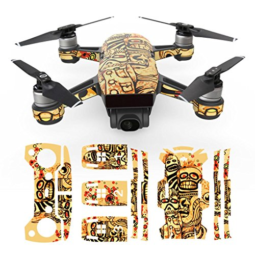 Vanvler Exquisite Camouflage Decals Waterproof Decal Skins Wrap Sticker Body Protector For DJI Spark Mini Drone (Yellow)