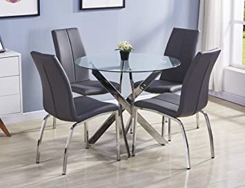 Brilliant Goldfan Dining Table And Chairs Set 4 Morden Glass Round Dining Kitchen Table Home Furniture Grey Pu Leather Download Free Architecture Designs Viewormadebymaigaardcom