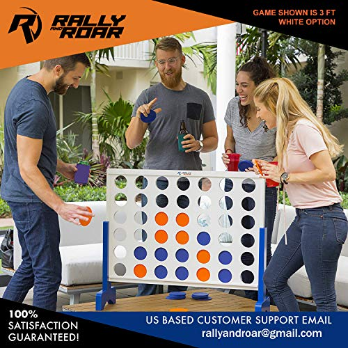 61jZN7Jt1RL - Giant 4 in A Row, 4 to Score with Carrying Bag - Premium Wooden Four Connect Game Set in 3' White Wood by Rally & Roar - Oversized Family Outdoor Party Games for Backyard, Lawn, Parties, Bar Game