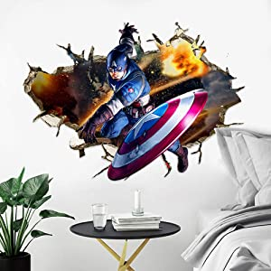 HU SHA Marvel Wall Stickers Iron-Man, Captain America,Hulk Wall Decals, Excellent Vinyl Wall Decor for Boys Room Living Room (19.7 x 27.6 inches Size)