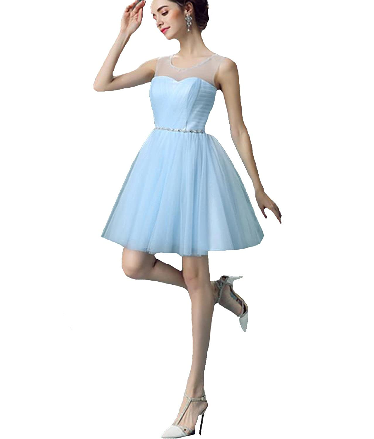QUEEN CLUB New Fashion Light Blue Tulle Homecoming Dresses