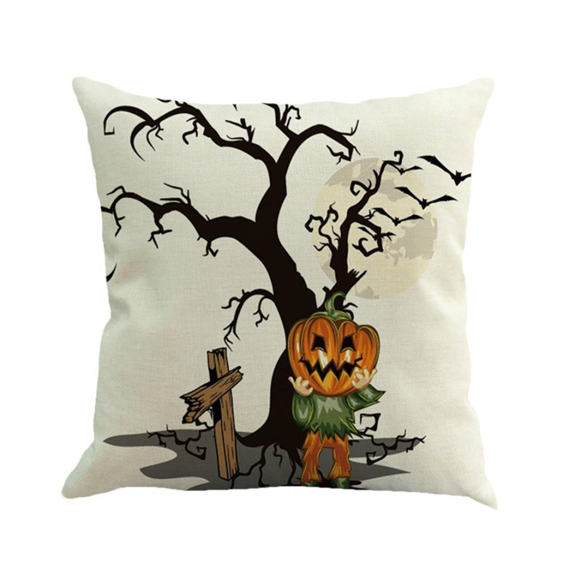 Gotd Vintage Halloween Pillow Covers Decorative Throw Pillow Case Cushion Happy Halloween Decorations Decor Clearance Indoor Outdoor Festive Party Supplies (Multicolor A) by Goodtrade8 (Image #1)