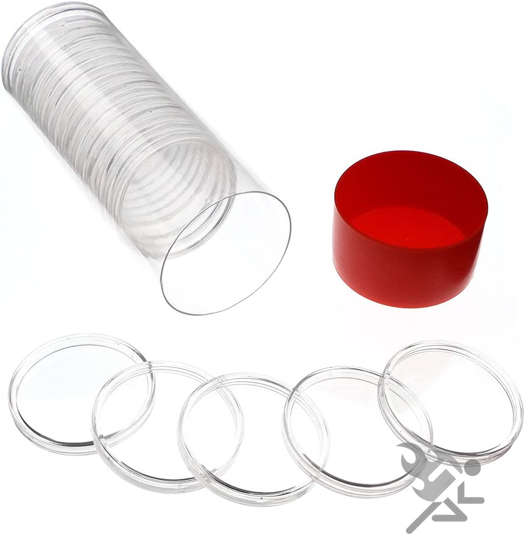 Capsule Tube & 20 Air-Tite H39 Direct Fit Coin Capsules for 1oz Silver Rounds (Red Lid) by OnFireGuy