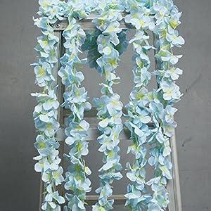 hilingo 32 Feet Artificial Silk Wisteria Flowers Vine Ivy for Home Plant Decor (6.56Feetx 5Pcs) 90