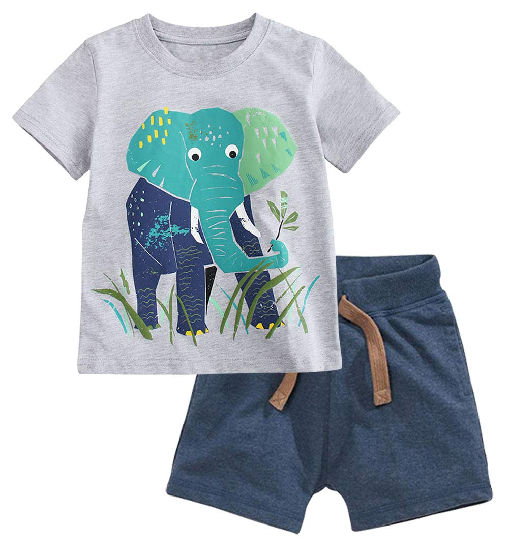 Fiream Baby Boy's Cotton Cute Short Sleeve Clothing Set(Set1,3T) by Fiream (Image #1)
