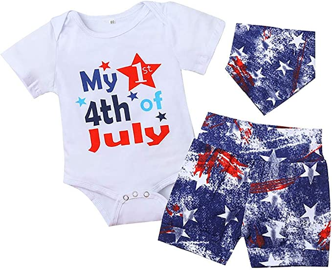 Dramiposs Baby Boys My 1st 4th of July Outfit Infant American Flag Short Set with Hat