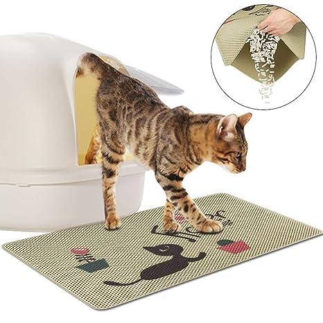 FREESOO Estera de Arena para Gatos Impermeable Alfombrilla Alfombra de Basura Rascadores Cat Litter Mat Litter