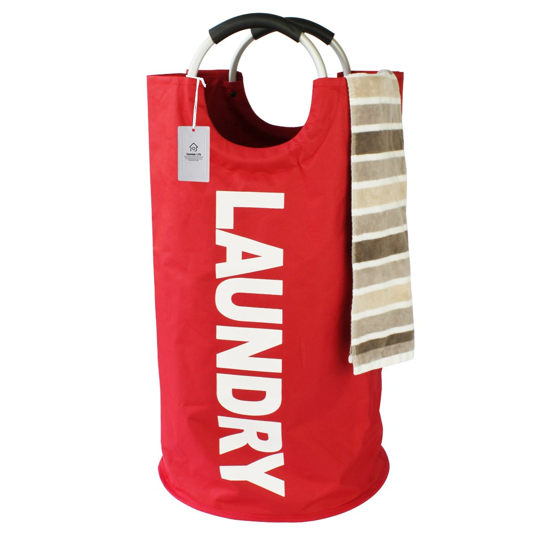 Thicken Laundry Bag with Alloy Handles for College, Camping and Home, Heavy Duty and Durable Canvas Utility, Shopping or Travel Bag, Collapsible and Self Standing as Laundry Basket (Red)