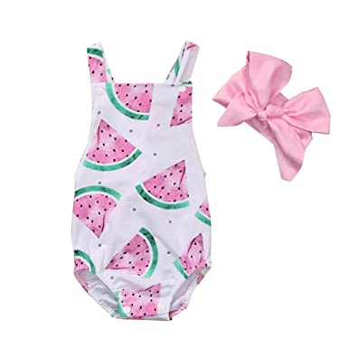 0fdfb48924a Amazon.com  Hatoys 2PCs Newborn Baby Girl Watermelon Clothes Bodysuit  Outfit Set Jumpsuit Romper  Clothing