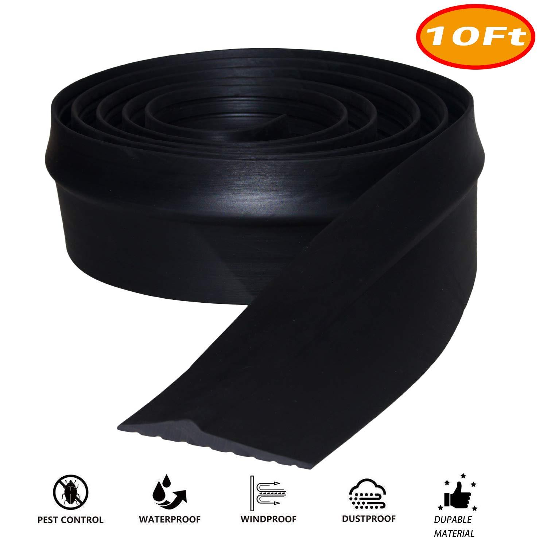 Universal Garage Door Threshold Seal, DIY Garage Door Weather Stripping, Weatherproof Floor Buffer Bottom Rubber Strip Replacement, Not Include Sealant/Adhesive (10Ft, Black) by Storystore