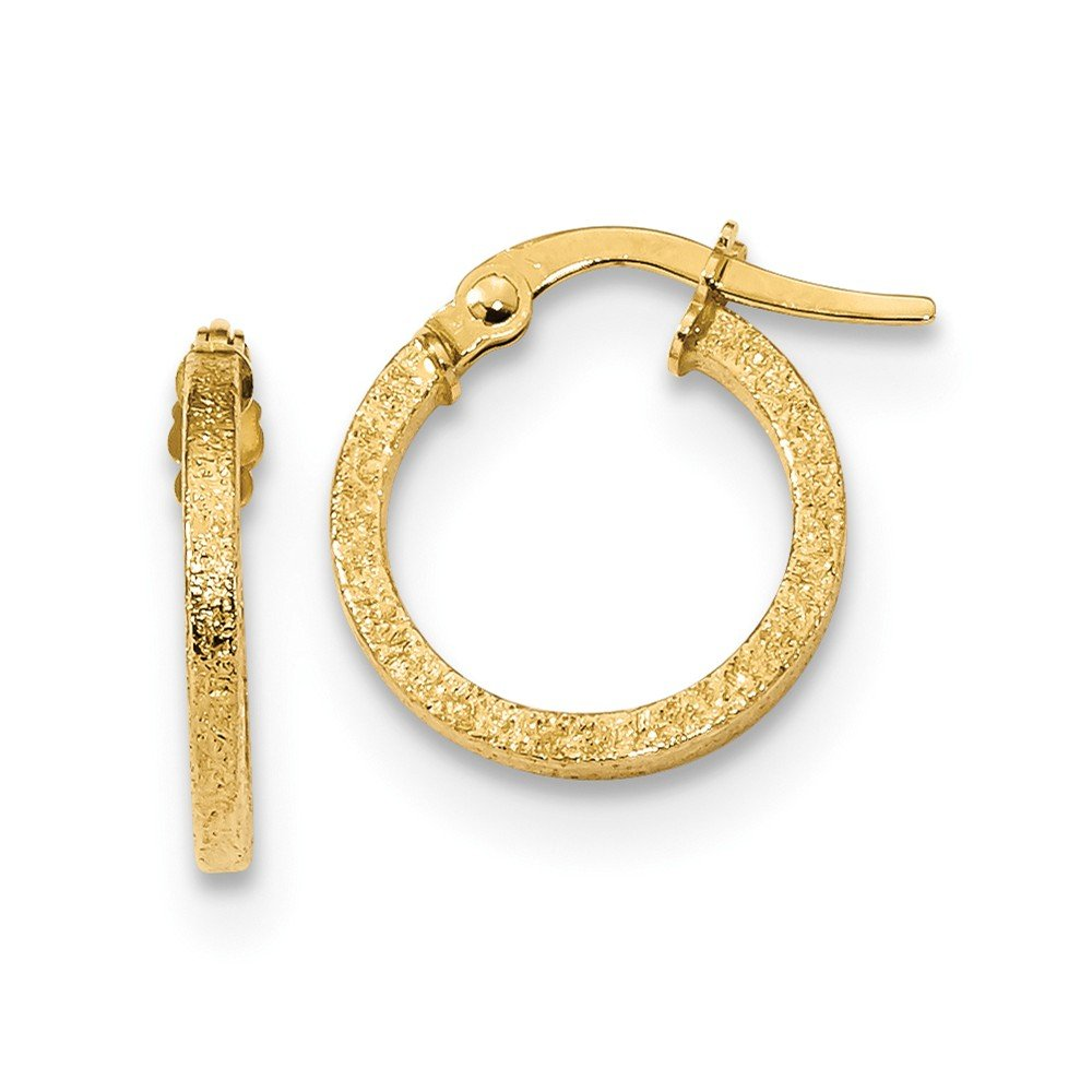 Mia Diamonds 14k Yellow Gold Textured Finish Square Tube Hoops