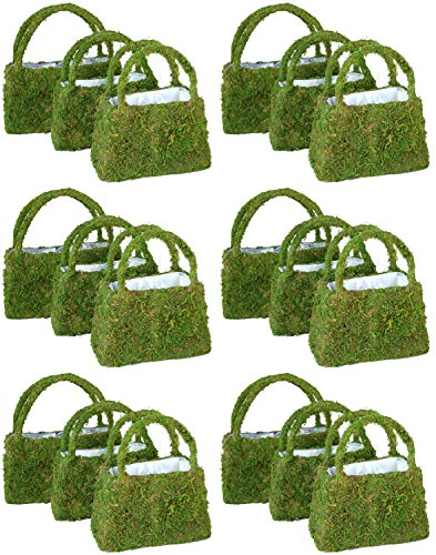 Green Moss Purse Planters - Pack of 6 Sets, 18 Purses, Small, Medium, Large