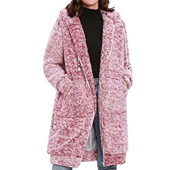 8ebb12951cdef4 Damen Mantel Teddy Fleece Mäntel Lang Kapuzenpullover Cardigan Oversize  Jacke Einfarbig Plüschjacke Winterjacke Coat Parka Outwear