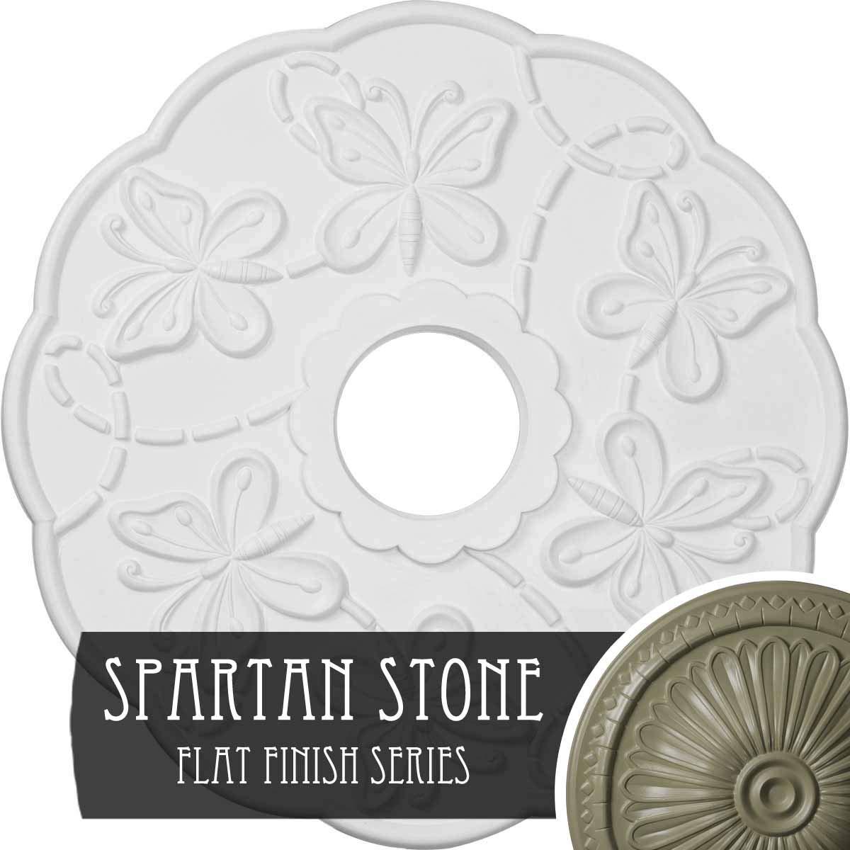Ekena Millwork CM17TSSSF Terrones Butterfly Ceiling Medallion, Spartan Stone