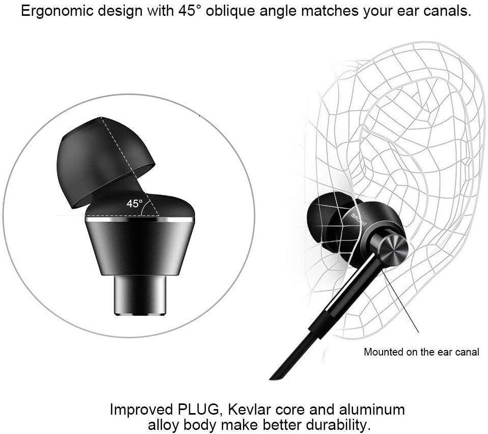 1MORE Dual Driver In-Ear Earphones Hi-Res Comfortable Headphones with Tangle-Free Cable Noise Isolation High Resolution In-Line Control for Smartphones Tablet E1017 Space Gray