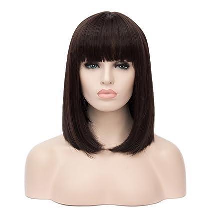 """14.5"""" 37CM Peluca de pelo medio largo liso con flequillo recto para mujer cosplay fiesta"""
