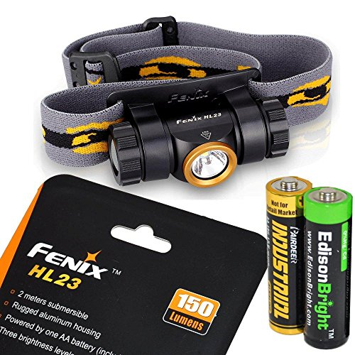 Fenix HL23 150 Lumen light weight CREE XP-G2 R5 LED Headlamp (Champagne Gold color) with EdisonBright AA alkaline battery bundle
