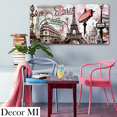Decor MI Modern Wall Art Pink Paris Eiffel Towel Decor Romantic City Paintings Poster Prints On Canvas Framed For Living Room 12x24 inch (Paris Wall Pictures)