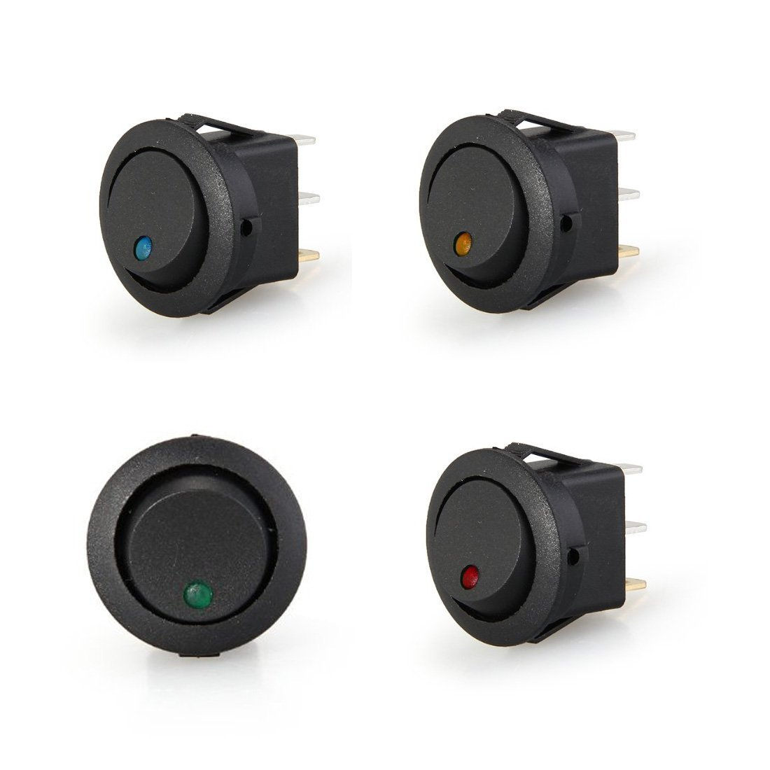 4 pcs led Rocker Indicator Switch 3 Pin On-Off 12V Dc New Durable High Quality Mini Round