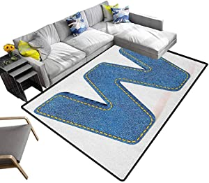 """Letter W Rug Pad Symmetrical Latin Letter Capital W with Blue Jean Pattern Typography Design Print Office Floor Mats for Carpet Blue Yellow (4'7""""x5'2"""")"""