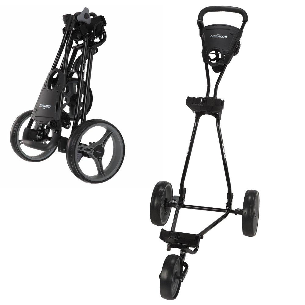 Caddymatic Golf Continental 3 Wheel Folding Golf Push/Pull Cart Black