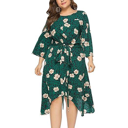 Amazon.com: Peacur Women Plus Size Dresses Summer 3/4 Sleeve ...