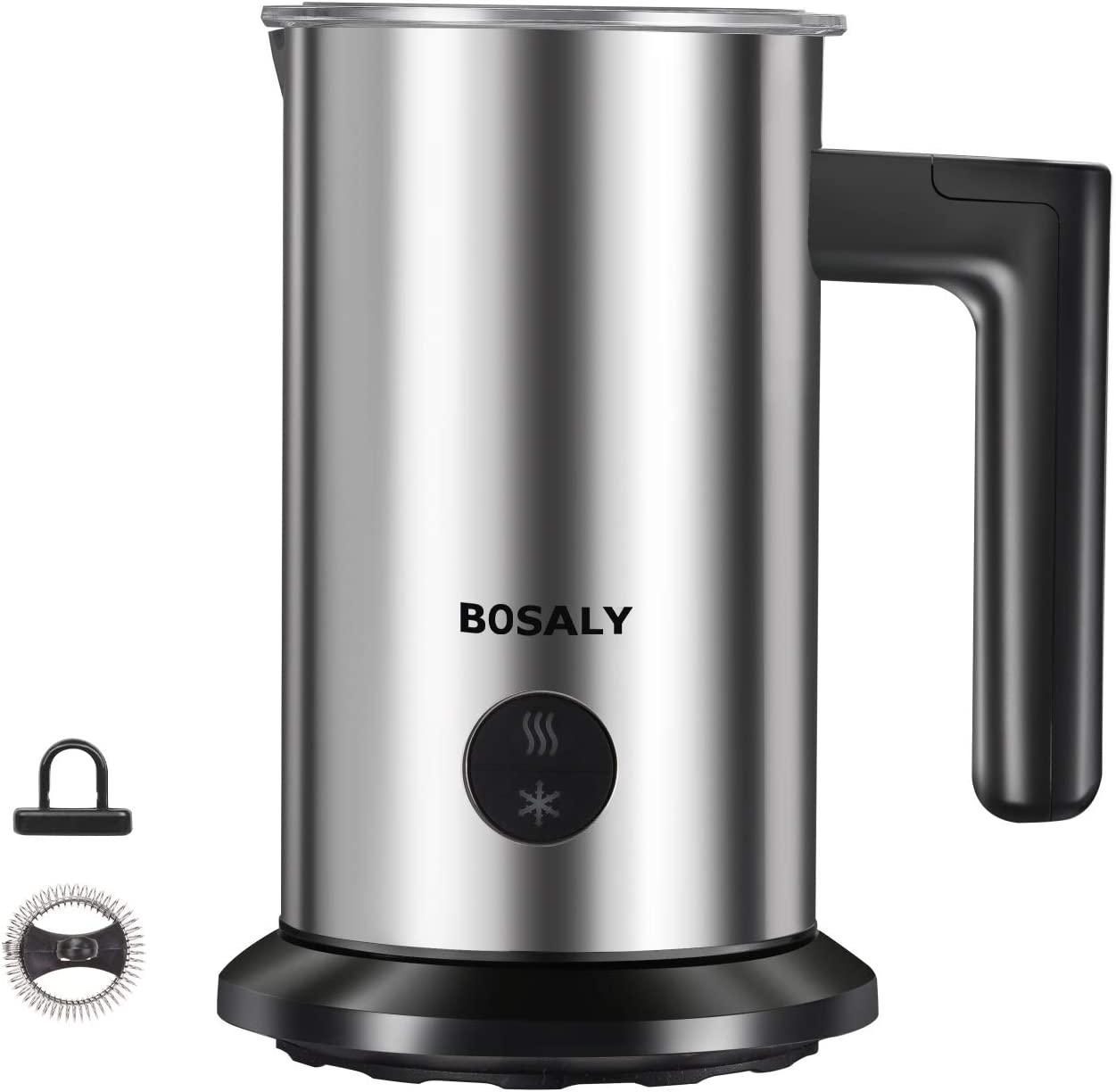 BOSALY Milk frother, Electric Milk Frother,Automatic Hot Cold Milk Maker, Milk Foamer Frother, Milk Steamer Frother Heater for Lattes, Coffee Espresso, Hot Chocolates, Cappuccinos (Silver)