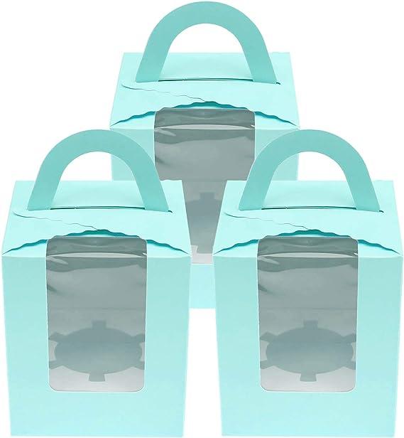 OTOTEC 20pcs Bo/îtes /à G/âteaux avec Fen/être en PVC Clair Muffin Simple Cupcake Ins/érer Porte-r/écipients Bleu pour Boulangerie Anniversaire Mariage