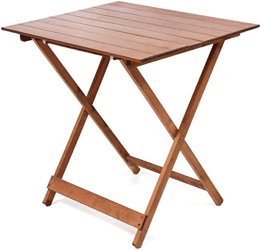 FRASM Mesa mesas Madera Plegable 60 x 80 Ajustable de Altura Color Nogal Brillante Mesa de jardín de balcón Plegable: Amazon.es: Hogar