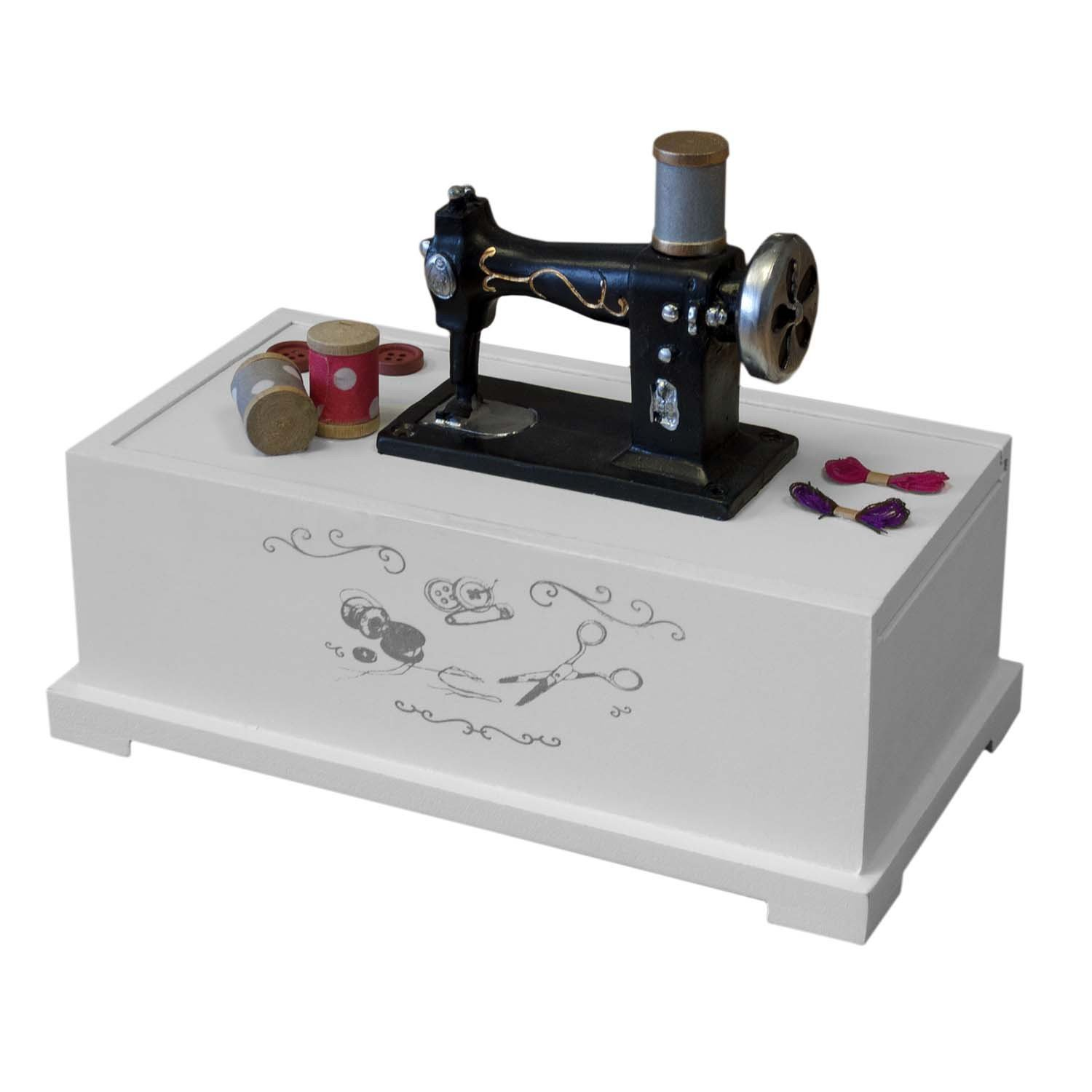 Sewing box sewing machine box sewing accessoires box 8,6x6,7x4,7' white for sewing things Multistore 2002