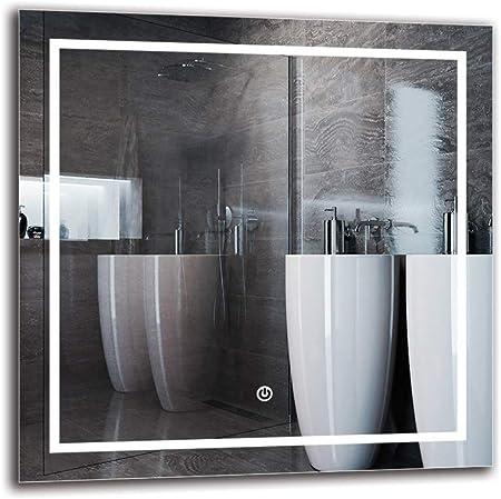 Interruttore tattile Specchio con Illuminazione Specchio a Muro ARTTOR M1CD-40-40x40 Bianco Caldo 3000K Specchio per Bagno Dimensioni dello Specchio 40x40 cm Specchio LED Deluxe