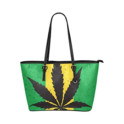 Cool Green Cannabis Leaf Icon Large Soft Leather Portable Top Handle Hand Totes Bags Causal Handbags With Zipper Shoulder Shopping Purse Luggage Organizer For Lady Girls Womens Work