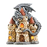 Collections Etc Castle and Dragon Solar Garden Statue, Hand Painged with Lit Windows, for Yard, Lawn, Outdoor Decoration