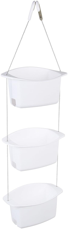 AmazonBasics 3-Basket Adjustable Shower Caddy - White