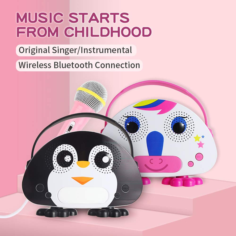 Kids Bluetooth Karaoke Machine with Microphone, Rechargeable Children's Wireless Loudspeaker Portable Cartoon Karaoke Music MP3 Player Toy with Microphone for Party Gift (Black) by OceanEC (Image #5)