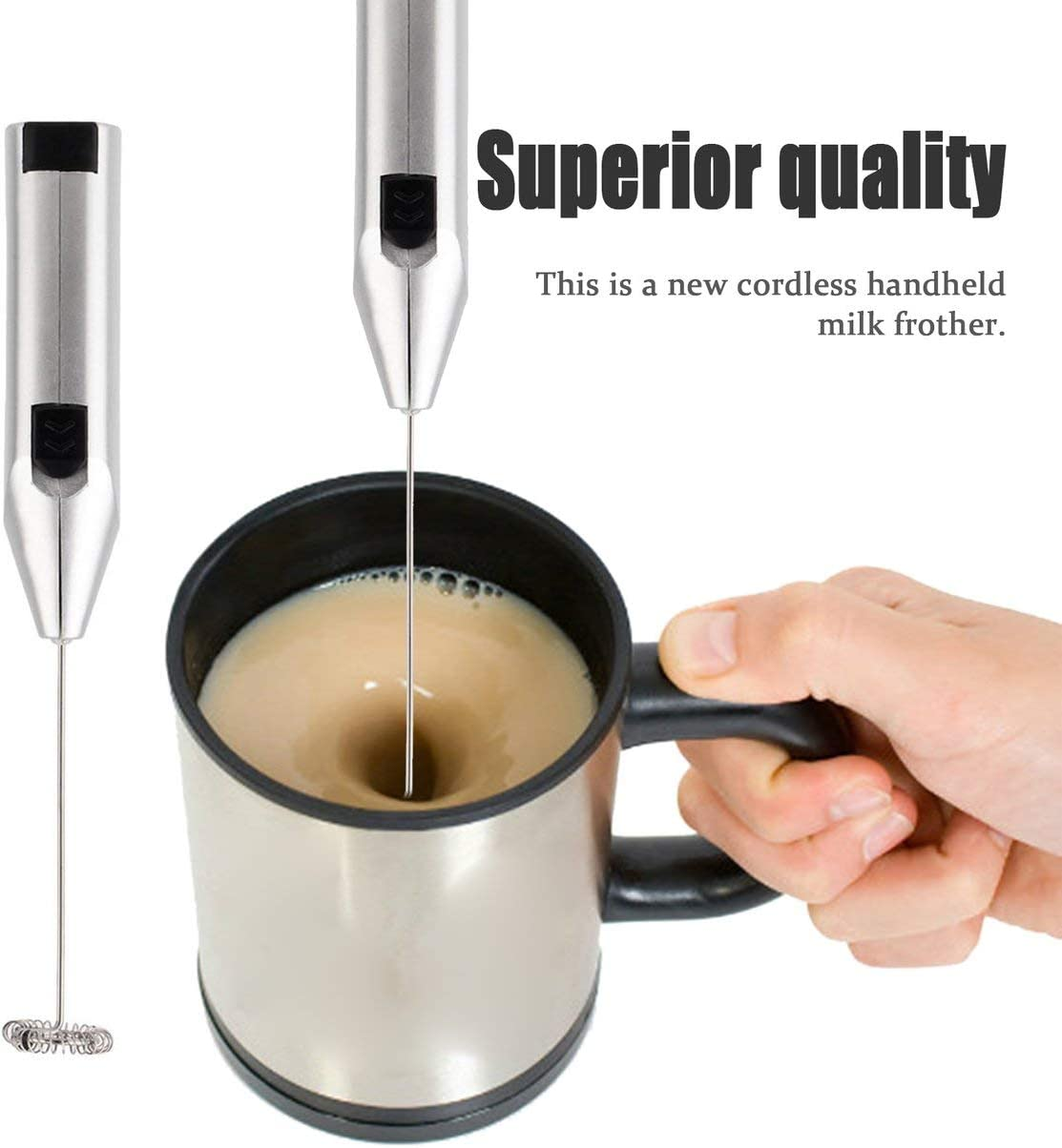 QLJ Espumador de Leche inal/ámbrico Espumador de Mano M/áquina de Capuchino Latte Espresso Chocolate Caf/é Mezclador de Cocina de Metal Handy Guard Stiring Aleatorio