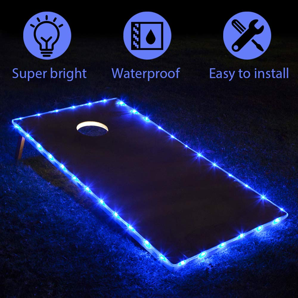 TongYu Set of 2 Cornhole Board Edge Night Lights,Long Lasting (72+ Hours) Great for Tailgates Backyard/Lawn Wedding BBQ & More! by TongYu