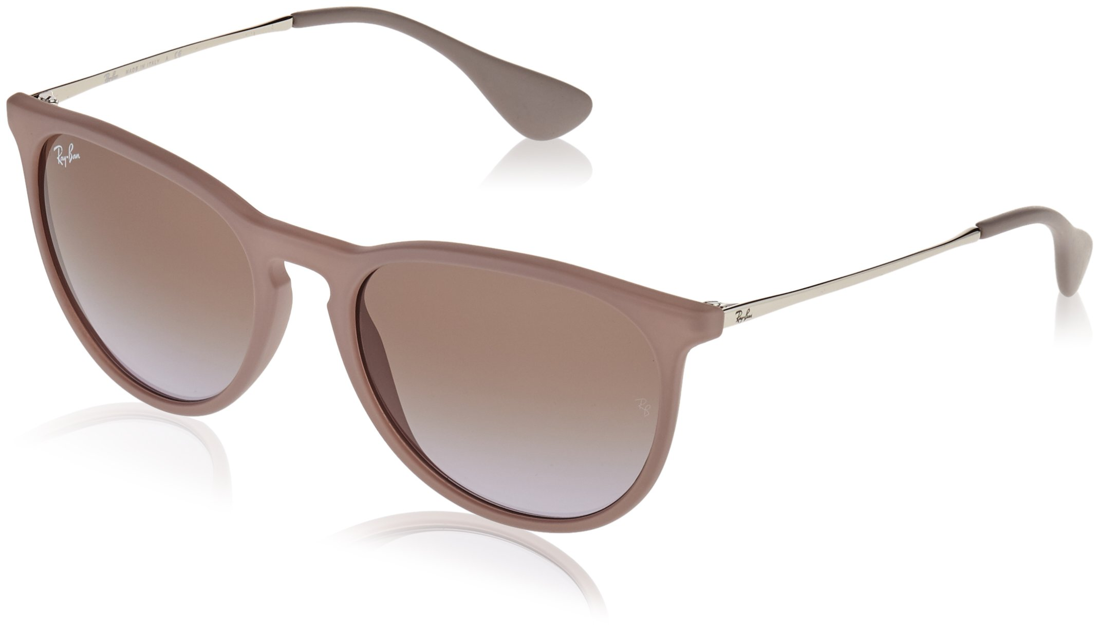 RAY-BAN Women's RB4171 Erika Round Sunglasses, Dark Rubber Sand/Violet Brown Gradient, 54 mm by RAY-BAN