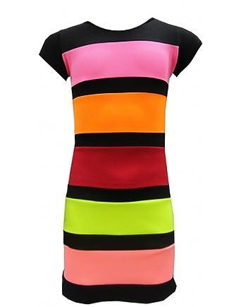 87bd0af1e3b AEL - Robe moulante mi-longue à rayures multicolores pour filles -  Multicolore