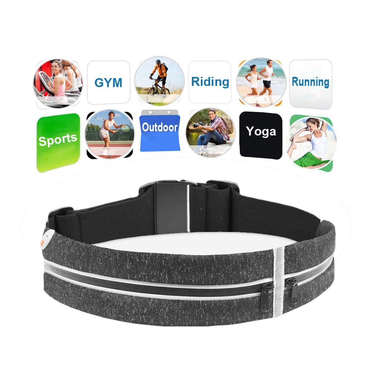 Running Belt for Phone, Fanny Packs for Women Men, Iphone Holder for Running, Phone Belt for IPhone X 6 7 8 Plus, Waterproof Fitness Pouch, Zipper No-Bounce Running Belt(black, one size, 2 pockets)