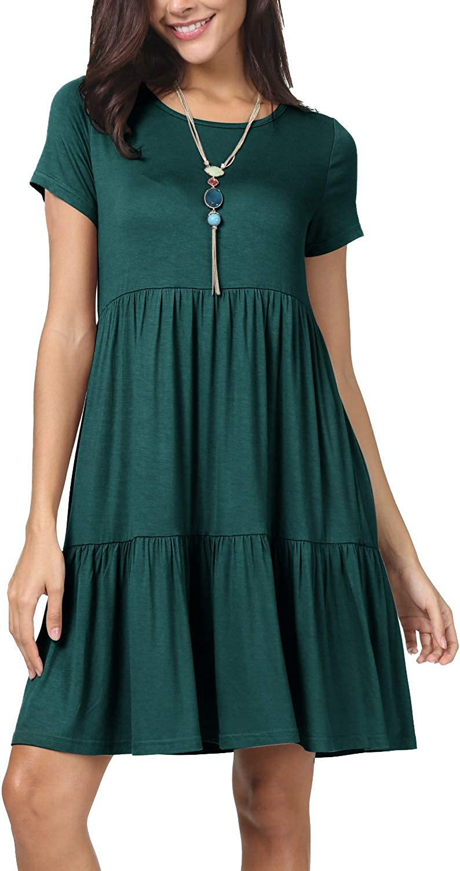 levaca Women Summer Short Sleeve Ruffle Loose Swing Casual T Shirt Dress