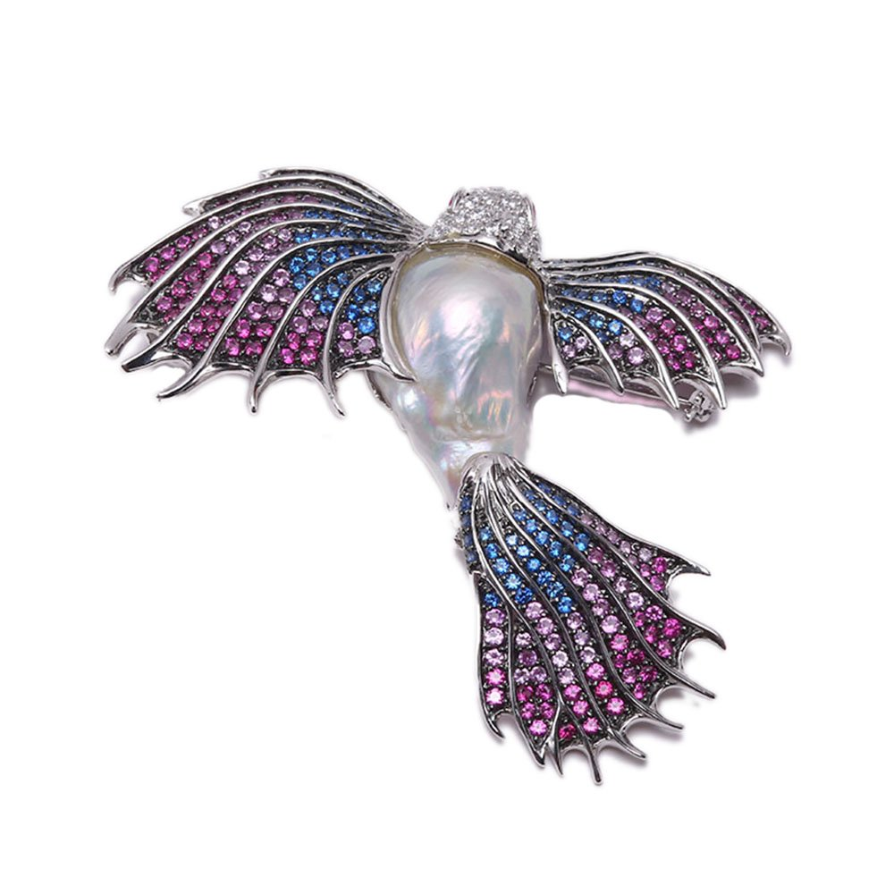 JYX Fine Bird-style White Baroque Pearl Pendant Brooch