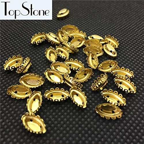 Calvas New Arrivial Navette Lace Settings Raw Brass Claws 4Holes 5x10mm Marquise Shaped Metal Claw for Setting Fancy Stones - (Item Diameter: 5X10MM 100pcs)