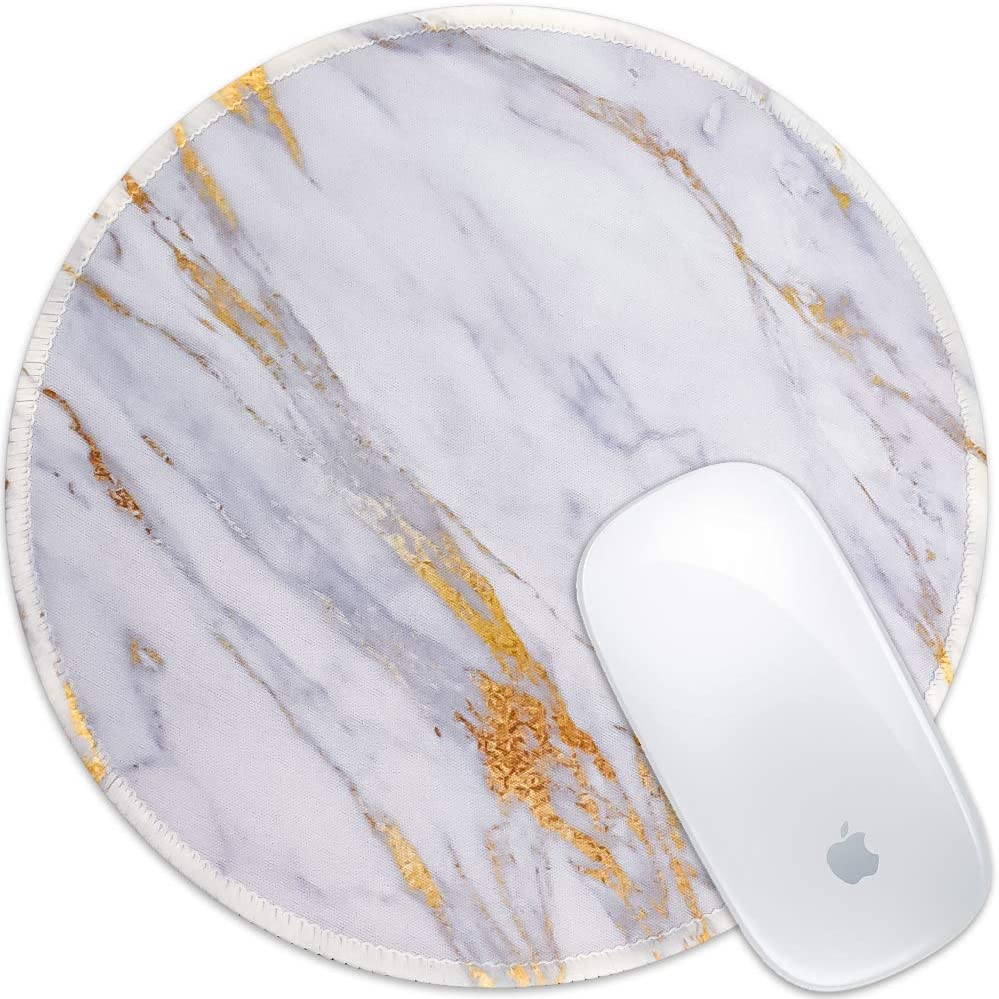 Marphe Mouse Pad White Gold Marble Design Mousepad Stitch Edge Non-Slip Rubber Gaming Mouse Pad Round Mouse Pads for Computers Laptop