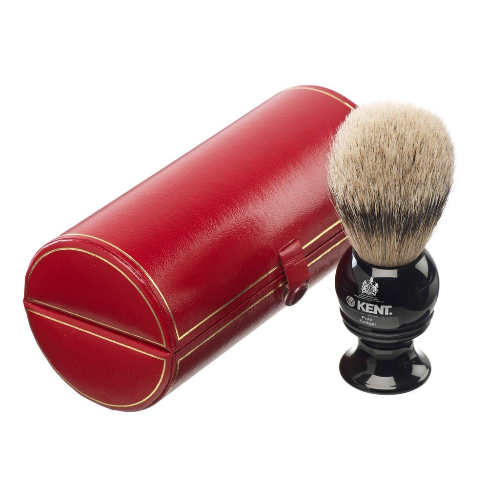 Traditional small/travel sized, pure silver-tipped badger brush