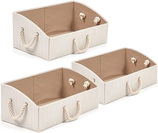 EZOWare 3 pcs Cajas de Almacenaje, Caja Abierta con Angulo de Tela Plegable Resistente con Manijas para Estanterías, Armarios, Ropa, Camisetas, Juguetes, y mas - (Beige): Amazon.es: Hogar