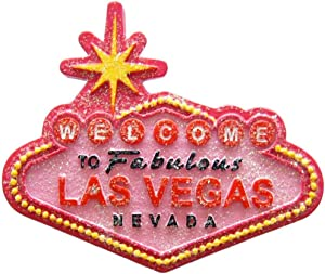 Las Vegas City with Welcome Sign Glitter Pink Super Magnetic Refrigerator Magnet