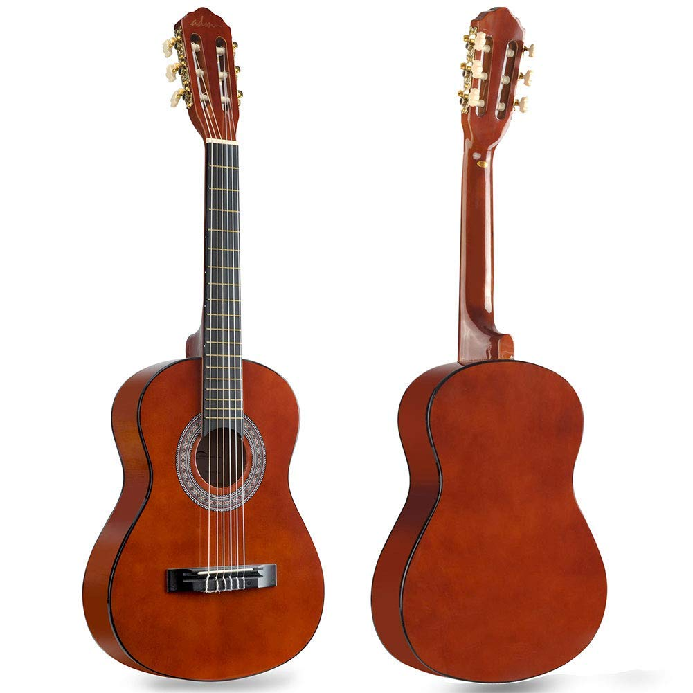 Kids Classical Guitar Half Size 34 Inch Spruce Wooden Guitar for Students, Beginners and Starters, Dark Brown