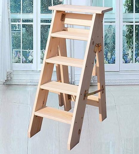 ZGYQGOO Herringbone - Escalera Plegable de Madera Maciza, decoración Unilateral para el hogar, 4 o 5 Niveles de tejado (Color: A, tamaño: 80 cm), a, 100 cm: Amazon.es: Hogar