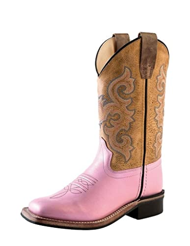 906bf70a853 Amazon.com: Old West Girls' Cowgirl Boot Square Toe Pink 4.5 D(M) US ...
